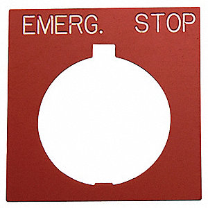 Legend Plate,Square,Emerg.Stop,Black/Red