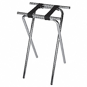 Deluxe Steel Tray Stand, Walnut,PK6