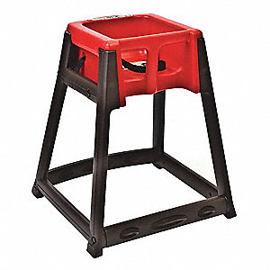 Kidsitter High Chair,Dark Brown/Red
