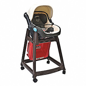 Kidsitter W/Casters,Dark Brown/Red