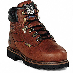 "6""H Men's Work Boots, Steel Toe Type, Leather Upper Material, Briar Brown, Size 8-1/2M"