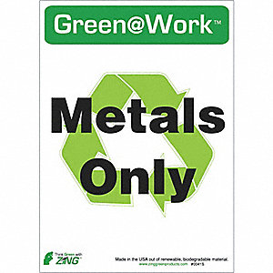 RECYCLE SIGN METALS ONLY 5/PK