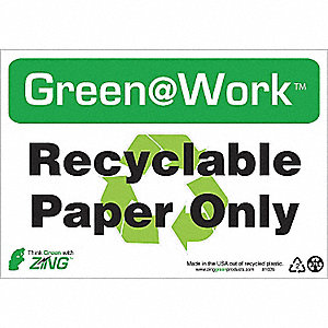SIGN GREEN AT WORK PAPER ONLY 7X10