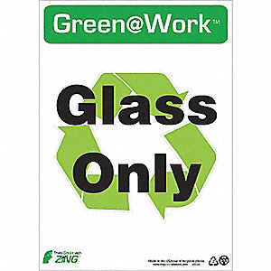 SIGN GREEN AT WORK GLASS ONLY 14X10