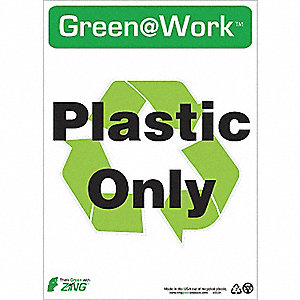 SIGN GREEN AT WORK PLSTC ONLY 14X10
