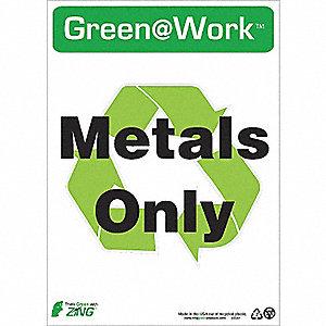 SIGN GREEN AT WORK METAL 14X10