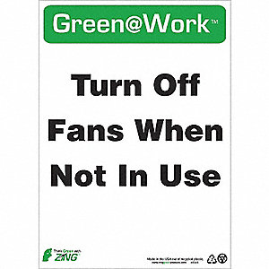 SIGN GREEN AT WORK FANS OFF 14X10