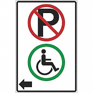 SIGN 12 X 18 NO PARK EXCEPT HANDI