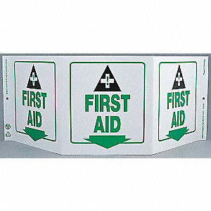 SAFETY SIGN,FIRST AID,3-SIDED