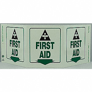 SAFETY SIGN,FIRST AID,3-SIDED,GLOW