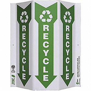 SIGN GREEN AT WORK RECYCLE TRI SLIM