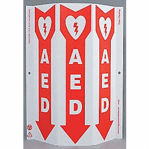 SAFETY SIGN,AED,3-SIDED