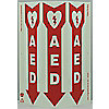 SAFETY SIGN,AED,3-SIDED,GLOW