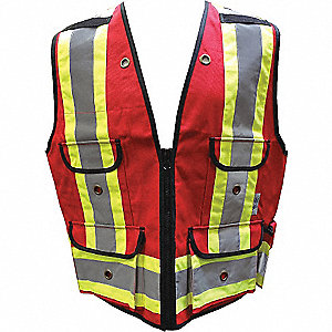 SURVEYORS VEST,ALL-TRADES,1000D,RED,MD