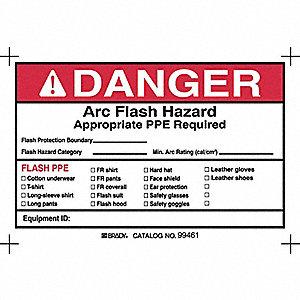LABEL DANGER ARC FLASH 4X6 5/PK