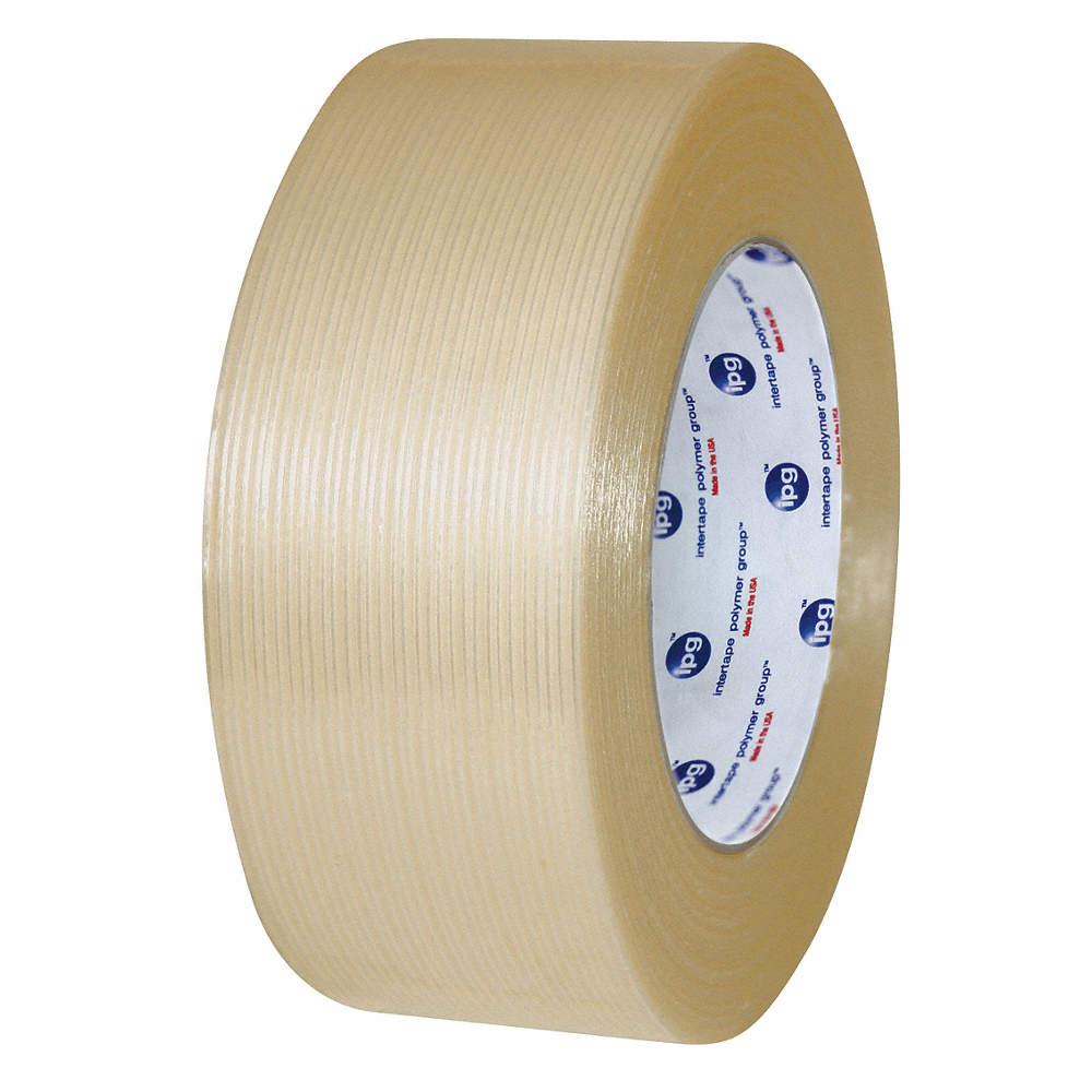 55m 9 50 mil Polyester Film/Reinforced Fiberglass Filament Tape, Clear, 1 EA