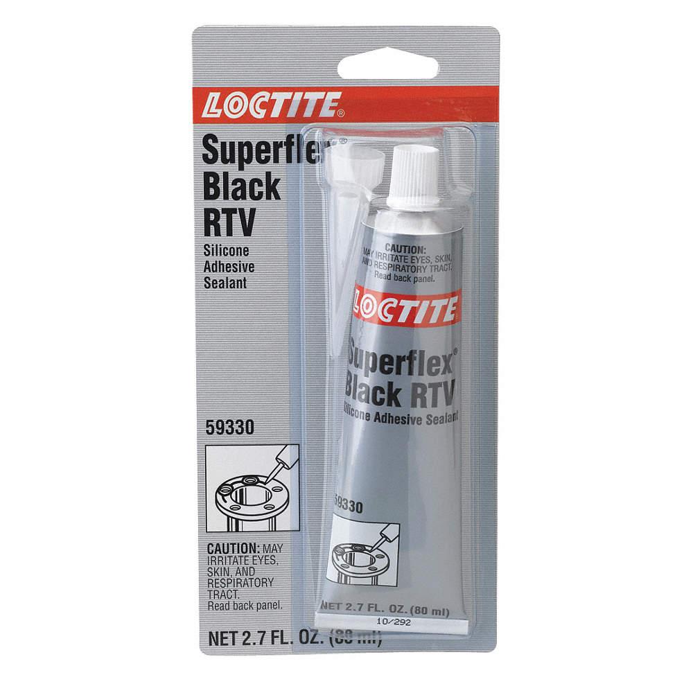 RTV Silicone Sealant, -65 to 450DF Temp  Range, Full Cure 24 hr , Black,  80mL