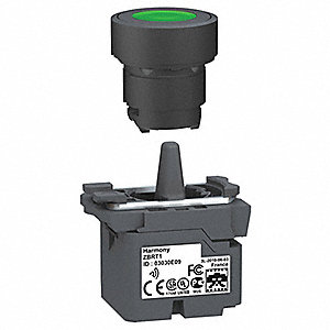 Plastic Push Button with Transmitter, Momentary, Green