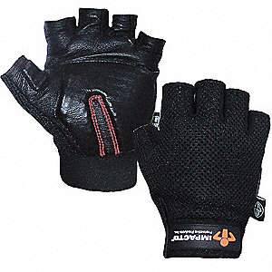 Anti-Vibration Gloves, Cowhide Leather Palm Material, Black, XL, PR 1