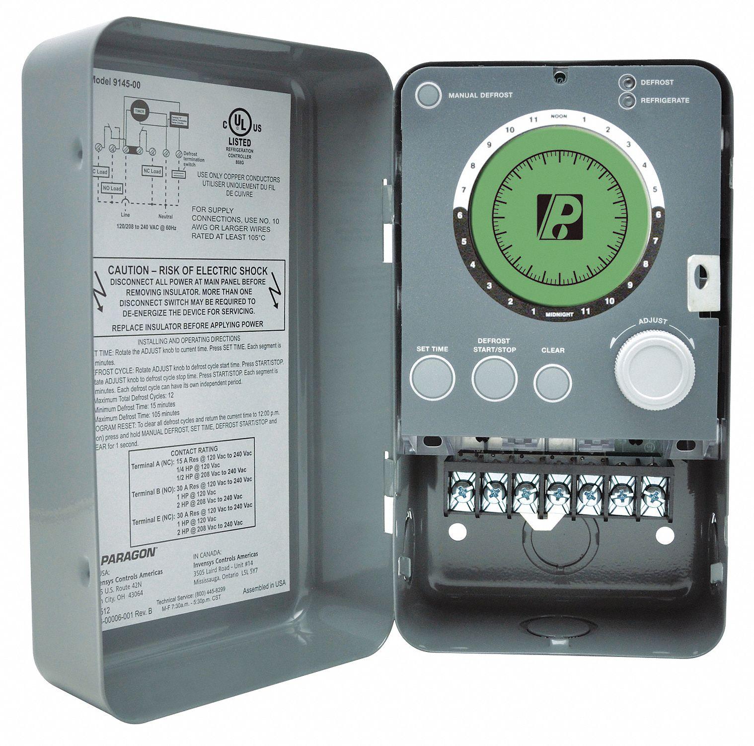 PARAGON Defrost Timer Control, 120/208/240V AC Voltage, 30 A Amps, 1 NO/1  NC - 12Z384|9045-00 - Grainger | Hvac Defrost Timer Wiring |  | Grainger