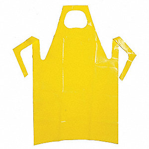 "Chemical Resistant Bib Apron, Yellow, 45"" Length, 35"" Width, VR (Polyolefin) Material, PK 50"