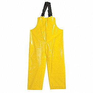Rain Bib Overall, High Visibility: No, ANSI Class: Unrated, Polyester, XL, Yellow