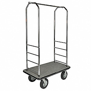 "73"" Metal Bellman Cart with Gray Carpet and Stainless Steel Finish"