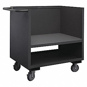 "42""L x 25""W x 39-7/8""H Gray Welded Steel 3 Sided Solid Stock Cart, 1400 lb. Load Capacity, Number of"