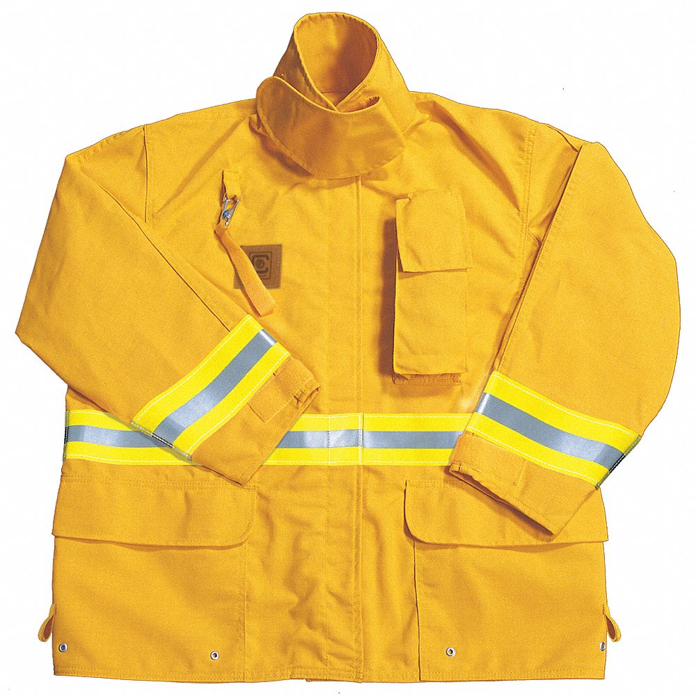 Yellow Turnout Coat,  L,  Fits Chest Size 46 in,  32 in Length,  Zipper/Hook-and-Loop Closure Type