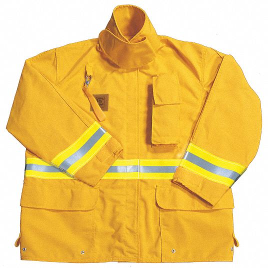 Yellow Turnout Coat,  3XL,  Fits Chest Size 58 in,  32 in Length,  Zipper/Hook-and-Loop Closure Type