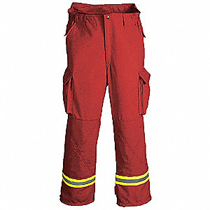 Turnout Pants,Red,L,Inseam 30 In.
