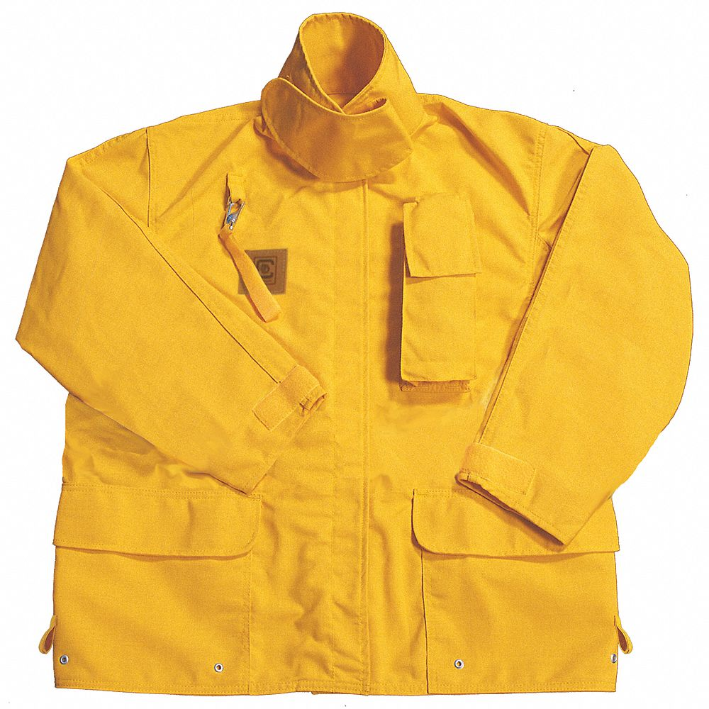 Yellow Turnout Coat,  M,  Fits Chest Size 42 in,  32 in Length,  Zipper/Hook-and-Loop Closure Type