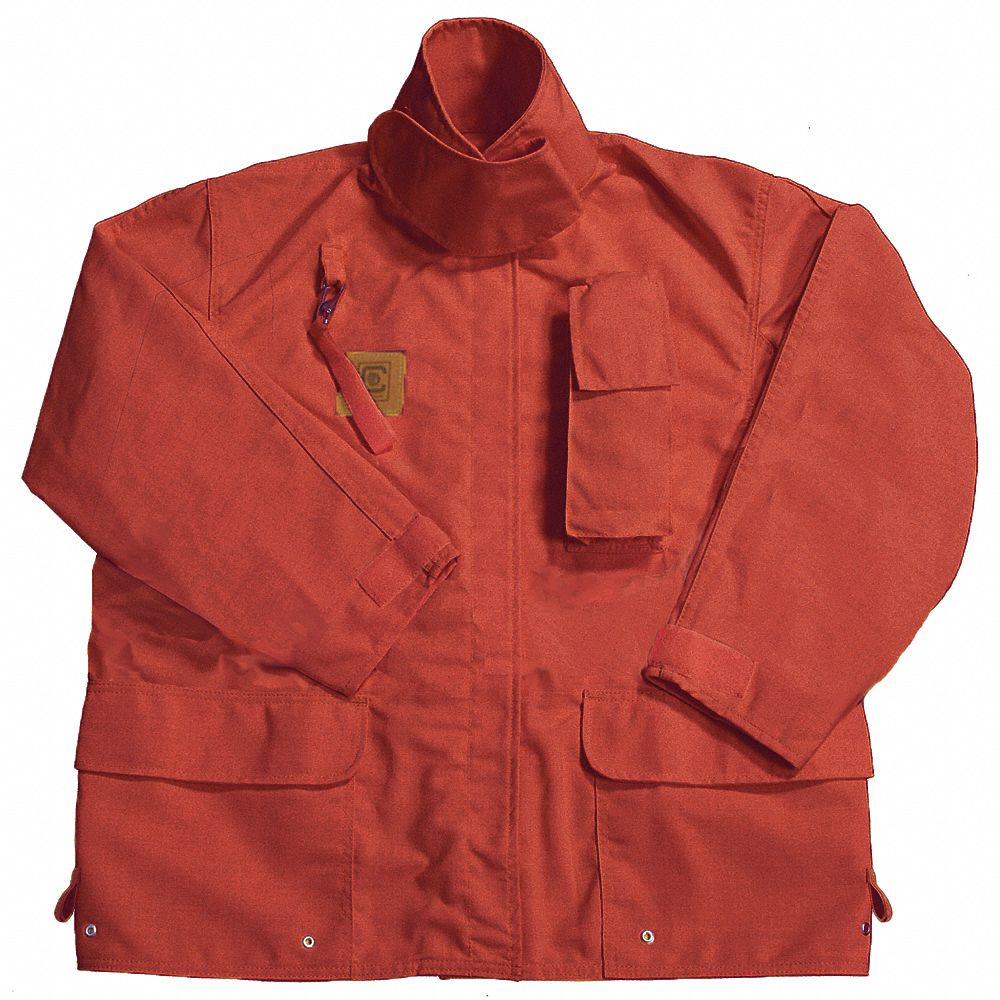 Red Turnout Coat,  M,  Fits Chest Size 42 in,  32 in Length,  Zipper/Hook-and-Loop Closure Type