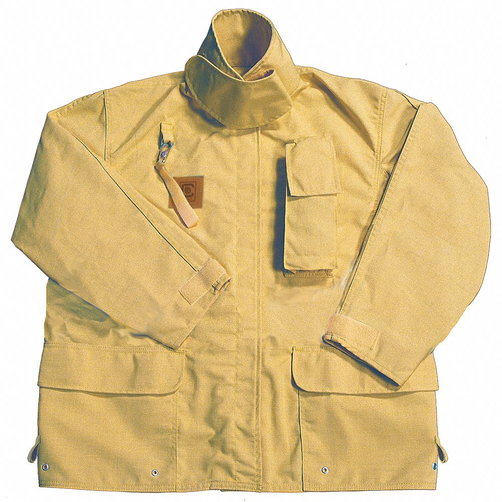 Tan Turnout Coat,  M,  Fits Chest Size 42 in,  32 in Length,  Zipper/Hook-and-Loop Closure Type