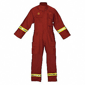 Turnout Coverall,Red,Lime/Silver