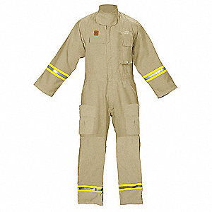 "Tan Turnout Coverall, Fire Resistant Cotton, 2XL, Fits Chest Size 54"", Inseam 31"""