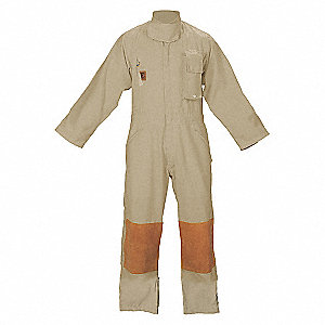 "Tan Turnout Coverall, Nomex®, M, Fits Chest Size 42"", Inseam 29"""