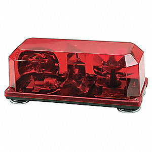 Red Mini Lightbar, Halogen Lamp Type, Permanent Mounting, Number of Heads: 2