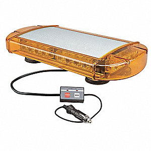 Amber Low Profile Mini Lightbar, LED Lamp Type, Magnetic Mounting, Number of Heads: 6