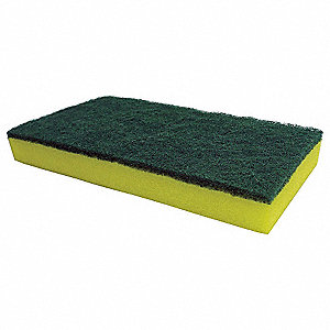 Sponge Scrubber,9x4-1/2 In,Green/Yellow
