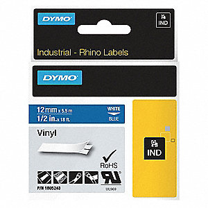 "White/Blue Vinyl Label Tape Cartridge, Outdoor Label Type, 18 ft. Length, 1/2"" Width"