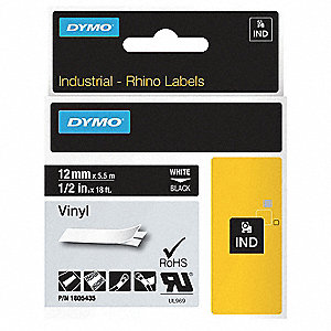 "Outdoor Vinyl Label Tape Cartridge, White/Black, 1/2""W x 18 ft."