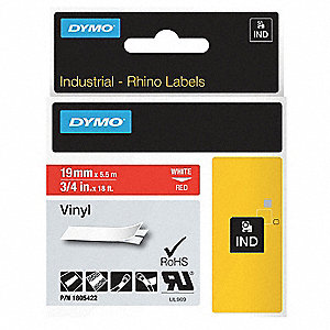 "White/Red Vinyl Label Tape Cartridge, Outdoor Label Type, 18 ft. Length, 3/4"" Width"