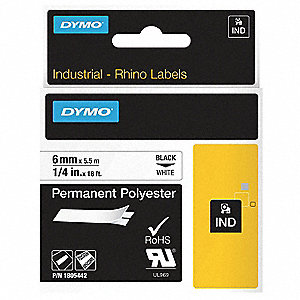 "Black/White Polyester Label Tape Cartridge, Indoor/Outdoor Label Type, 18 ft. Length, 1/4"" Width"