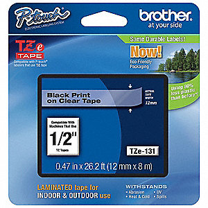 "Black/Clear PET Label Tape Cartridge, Indoor/Outdoor Label Type, 26-1/5 ft. Length, 0.47"" Width"