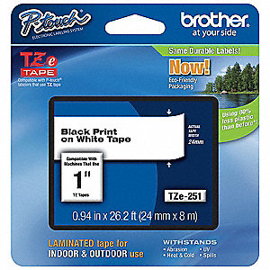 "Indoor/Outdoor PET Label Tape Cartridge, Black/White, 29/32""W x 26 ft. 4"""