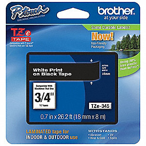 "White/Black PET Label Tape Cartridge, Indoor/Outdoor Label Type, 26-1/5 ft. Length, 0.70"" Width"