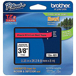 "Black/Red PET Label Tape Cartridge, Indoor/Outdoor Label Type, 26-1/5 ft. Length, 0.35"" Width"