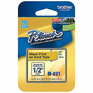 "Indoor/Outdoor Thermal Film Label Tape Cartridge, Black/Gold, 15/32""W x 26 ft. 4"""