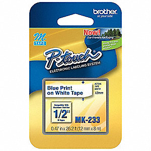 "Blue/White Thermal Film Label Tape Cartridge, Indoor/Outdoor Label Type, 26-1/5 ft. Length, 0.47"" Wi"
